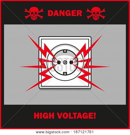 The poster shows a warning about high voltage in the electrical outlet.