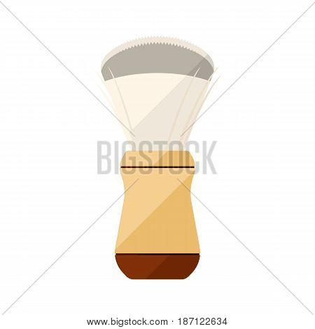 Shaving brush flat icon with white handle