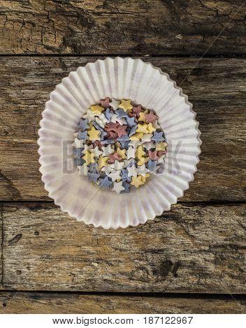 sugar Small star for cake decoration close up