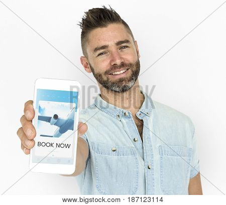 Illustration of air ticket booking for travel destination on mobile phone