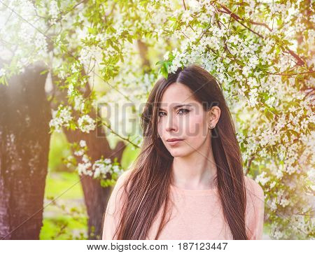 Beautiful young brunette girl in a blooming cherry orchard. Happy smiling young woman with spring flowers at garden. Girl in in spring garden among the blossoming cherry branches covered with flowers.