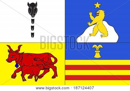 Flag of Argeles-Gazost is a commune in the Hautes-Pyrenees department in southwestern France. Vector illustration