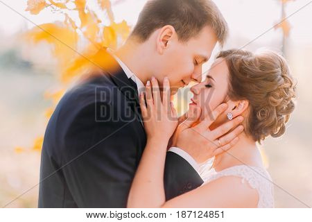 The sensitive close-up side portrait of the newlyweds standing head-to-head at the background of the yellowed leaves