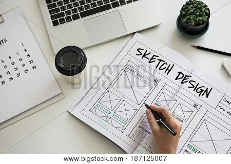 Sketch design homepage layout website