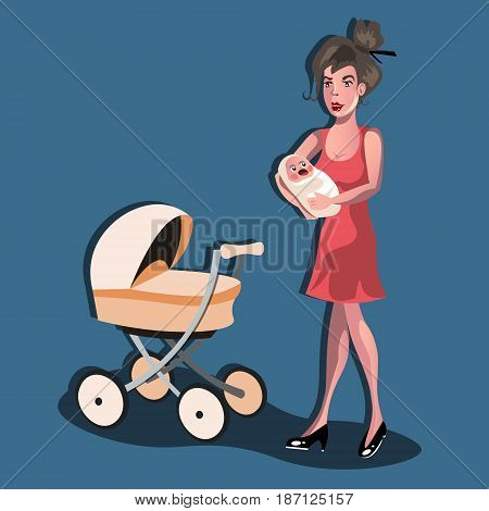 Mother with baby in stroller. Young mother pushing baby