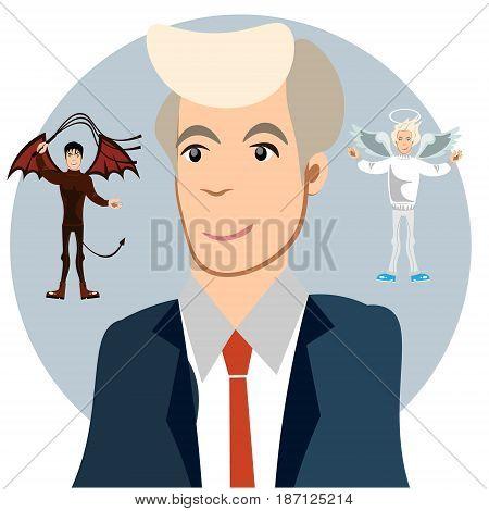 Men between the angel and demon. Vector illustration