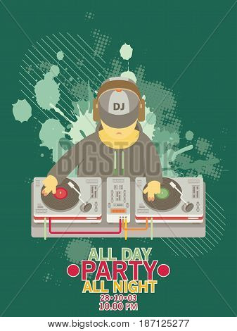 Dj Character Music. Musical Entertainment. Flat Vector Illustration