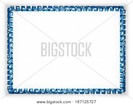Frame and border of ribbon with the state South Dakota flag USA. 3d illustration