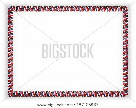 Frame and border of ribbon with the state Mississippi flag USA edging from the golden rope. 3d illustration