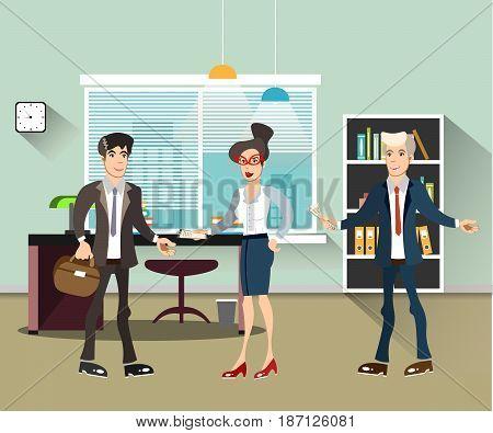 Office people teamwork, brainstorming in flat style vector illustration.