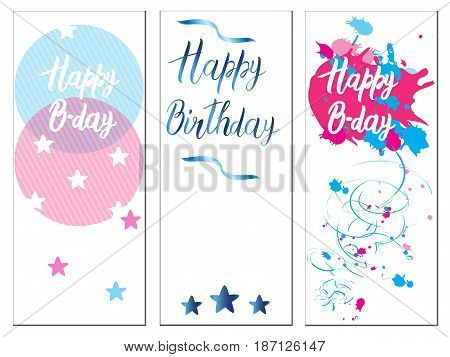 Set of Birthday cards on a white background