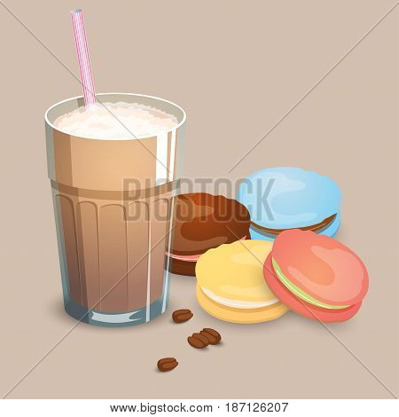 Cup with coffee drink macaroons and beans on a beige background