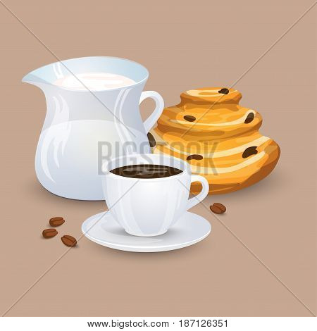 Cup with coffee drink sweets and beans on a beige background