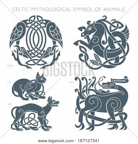 Ancient celtic mythological symbol of animals. Vector knot ornament.