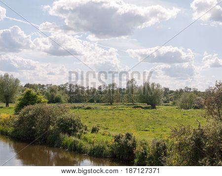 A Lush Afternoon Summer Scene Outside In The Country With A River At The Bottom Side And Lots Of Ope