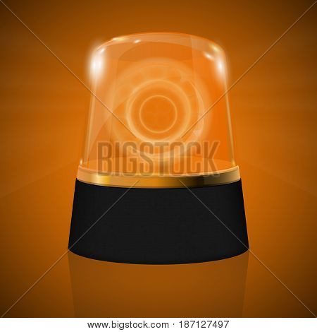 Emergency Yellow flashing light. Warning siren. Vector  Illustration.