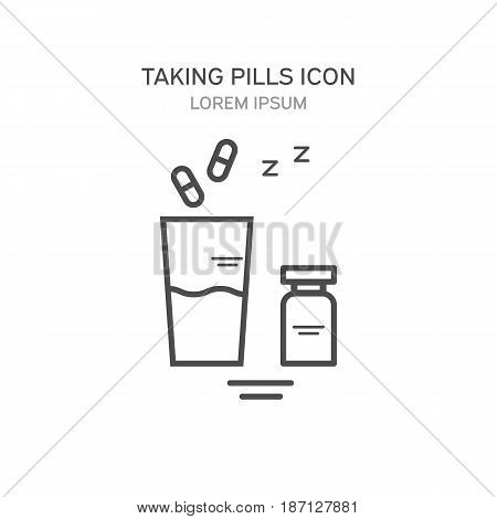 Glass of water and pills medical vector illustration. Icons in a linear style
