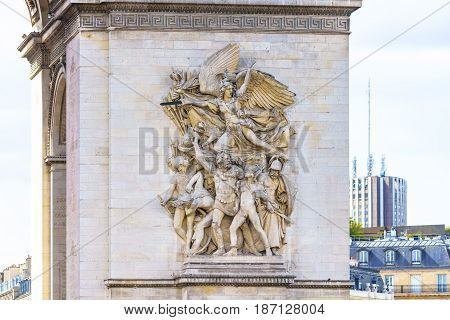 Paris France - May 1 2017: Detail of low relief art on the Arc de Triomphe on May 1 2017 at Paris France.