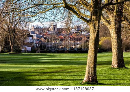 Windsor castle England - March 22 2017: Outside landscape of Medieval Windsor Castle. Windsor Castle is a royal residence at Windsor in the English county of Berkshire.