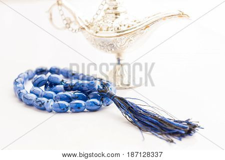 Blue Islamic Rosary with silver Aladdin lamp