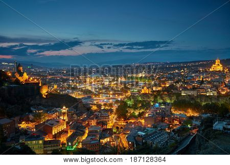 Panoramic view of Tbilisi city lights, Georgia.