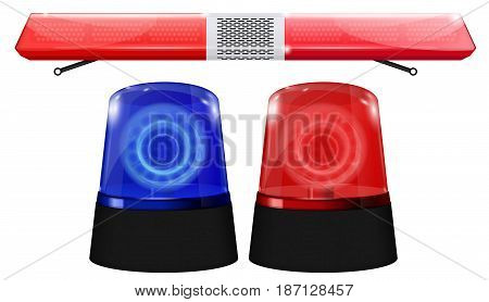Police Siren, red and blue flasher. Vector illustration isolated on white background