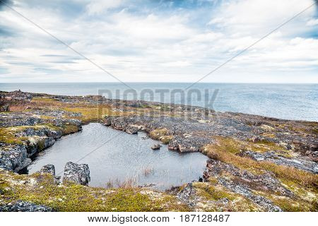 The Barents Sea coast in Teribarka Russia