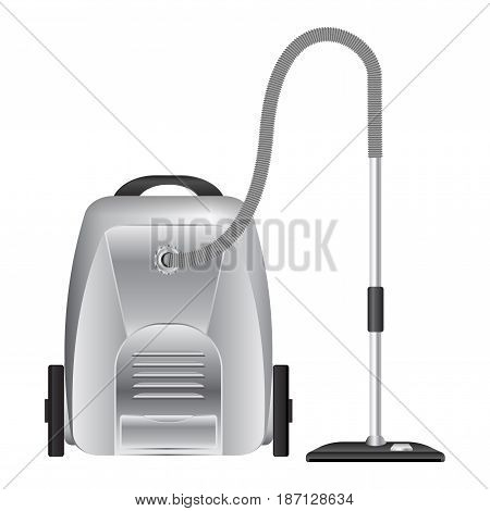 Metal Vacuum cleaner.  Vector illustration isolated on white background