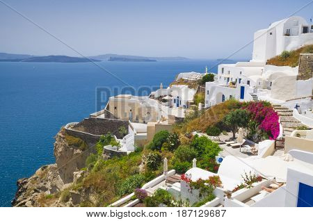 Oia town on Santorini island in Greece