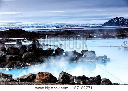 View Of The Myvatn Naturebaths, A Geothermal Hot Lagoon In Northeast Iceland