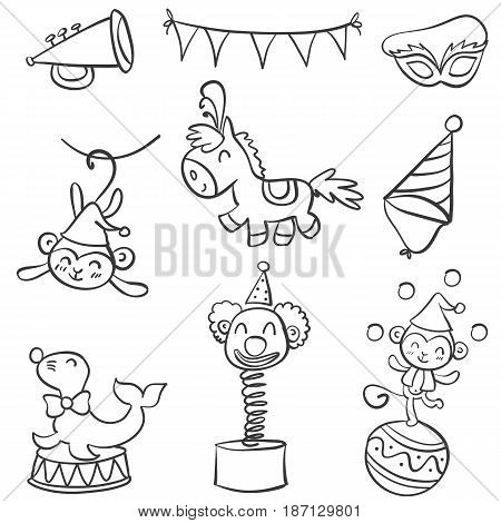 Element circus of doodle style vector art