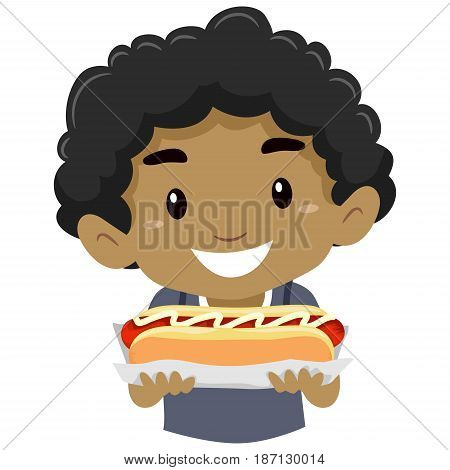 Vector Illustration of Little Kid Boy Holding a Hotdog