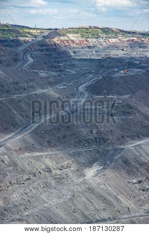 Iron ore surface mining - view to the pit works