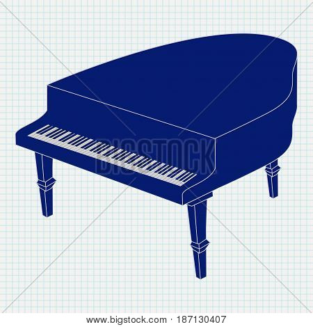 Grand piano. Vector illustration on Notebook sheet background