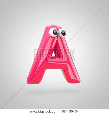 Funny Pink Letter A Uppercase With Eyes
