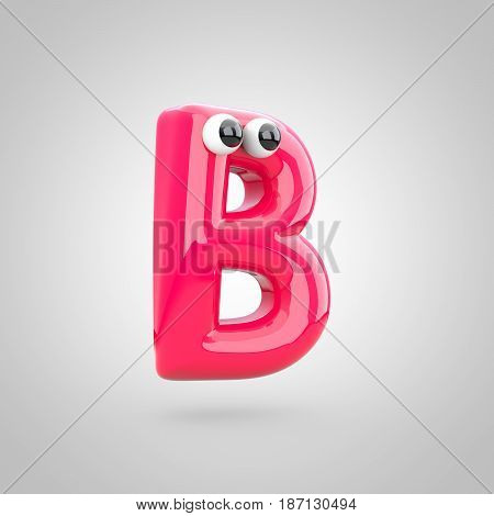 Funny Pink Letter B Uppercase With Eyes