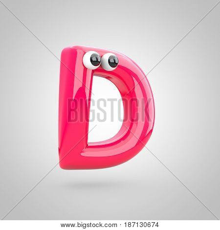 Funny Pink Letter D Uppercase With Eyes