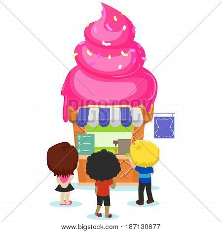 Vector Illustration of Children Going to the Ice Cream Store