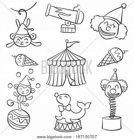 Collection object circus doodle style hand draw vector art