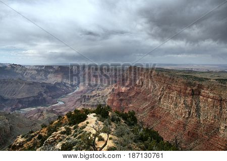 A spectacular view of the Grand Canyon with the Colorado river