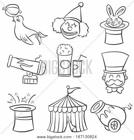 Hand draw element circus of doodles vector illustration