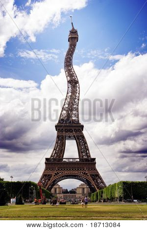 Wavy Eiffel tower - Paris France - poster