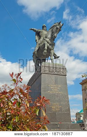 Moscow Russia - May 13 2017: Monument of founder of Moscow - Yuri Dolgorukiy at Tverskaya Square in the center of Moscow