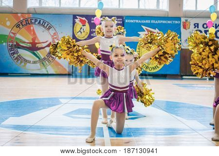 March 9, 2017: Championship of the city of Kamenskoye in cheerleading among solos, duets and teams