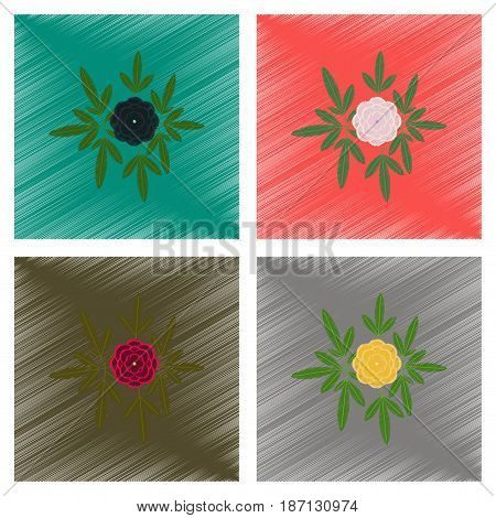 assembly flat shading style illustration of flower paeonia