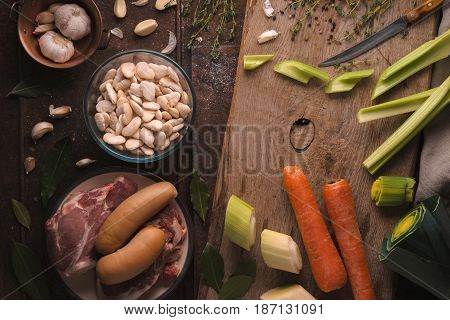 Ingredients for cooking kasul with pork and lamb on the table horizontal