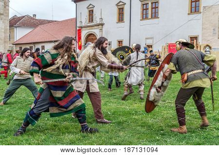 ALBA IULIA ROMANIA - APRIL 30 2017: Dacian soldiers in battle costume making a demonstration of fighting at APULUM ROMAN FESTIVAL organized by the City Hall.