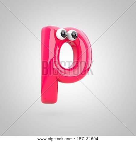 Funny Pink Letter P Lowercase With Eyes