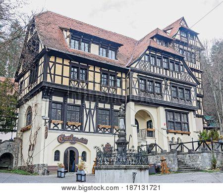 Romania, Sinaia - April 4, 2017: Building In The Courtyard Of The Peles Castle From Sinaia Romania,