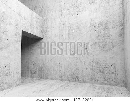 Abstract White Concrete Empty Room Interior 3D
